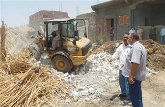 إزالة 34 حالة تعد على أراض زراعية وأملاك دولة بمركزي منفلوط والغنايم| صور