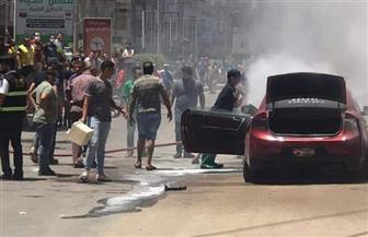 """احتراق سيارة ملاكي في شارع """"النحاس"""" بطنطا"""