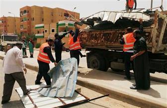 جهاز مدينة الشيخ زايد يشن حملتين لإزالة الإشغالات والتعديات بالمدينة|صور