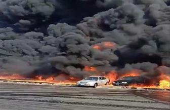 جهود مكثفة للسيطرة على حريق بطريق الإسماعيلية الصحراوى | صور