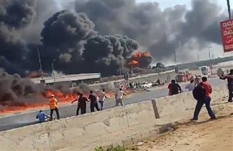 محاصرة حريق طريق مصر الإسماعيلية بـ ٣٦ سيارة إطفاء