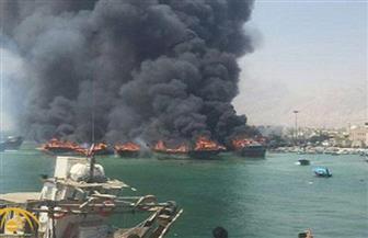 اندلاع حريق في ميناء بوشهر بجنوب إيران واشتعال النيران في 3 سفن