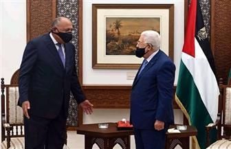 تفاصيل لقاء وزير الخارجية بالرئيس الفلسطيني برام الله|صور