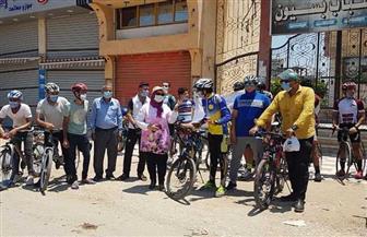 رئيسة مدينة بسيون تشهد ماراثون سباق دراجات وتوزع كمامات مجانية على المواطنين | صور