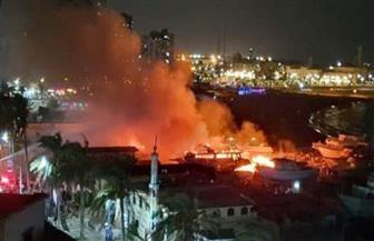 النيابة تنتدب المعمل الجنائي لمعاينة موقع حريق ورش تصنيع السفن بالإسكندرية