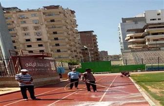 نادي طنطا يطهر ويعقم الملعب بعد المسحة الثالثة للاعبين| صور