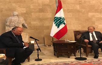 الرئيس اللبناني يستقبل سامح شكري بقصر بعبدا | صور