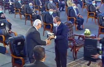 الرئيس السيسي يقدم المستشار عدلي منصور لإزاحة الستار لافتتاح المرحلة الرابعة من الخط الثالث