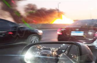 توقف حركة المرور بسبب اشتعال النيران فى سيارة ملاكى أعلى الدائري   صور