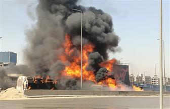 اشتعال 7 سيارات في حادث تصادم على الطريق الدائري|  صور