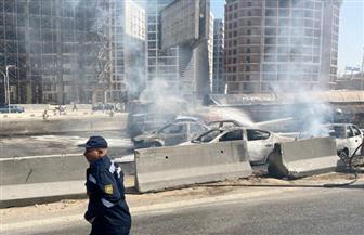 إصابة شخصين في حادث احتراق 7 سيارات ملاكي أعلى الدائري