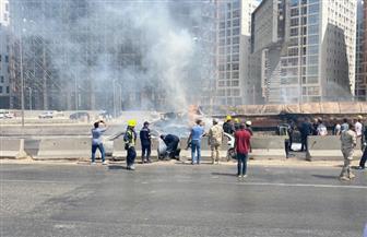 انقلاب سيارة مواد بترولية وراء اشتعال النيران بسيارات حادث الدائري