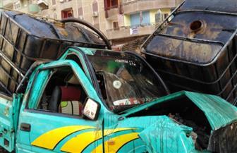 إصابة شخصين في حادث تصادم نهاية كوبري مؤسسة الزكاة بعزبة النخل | صور