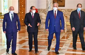 الرئيس السيسي يستقبل عقيلة صالح وخليفة حفتر بقصر الاتحادية | فيديو