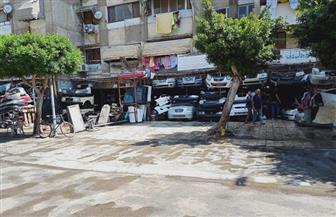 بورسعيد تزيل إشغالات أكبر مجمع لقطع غيار السيارات بمنطقة بنك الإسكان |صور