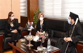 وزيرة التخطيط تستقبل الأنبا باخوم لبحث التعاون بين الوزارة والكنيسة الكاثوليكية| صور