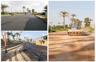 الجيزة تبدأ أعمال رصف محاور مرورية بأوسيم ومنشأة القناطر والواحات والهرم | صور