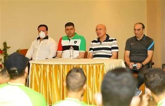 حلبية يزور معسكر المصري لتحفيز اللاعبين على الفوز أمام إنبي غدا  صور
