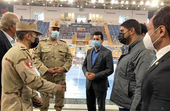 وزير الرياضة يتفقد الاستعدادات النهائية بالصالة المغطاة بالعاصمة الإدارية الجديدة  صور