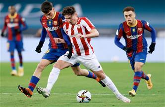 إثارة في ختام الشوط الأول من نهائي السوبر الإسباني بين برشلونة وأتليتك بلباو
