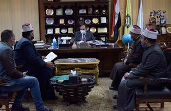 رئيس جامعة بني سويف يبحث مع وكيل وزارة الأوقاف بالمحافظة التعاون لنشر الوعي| صور