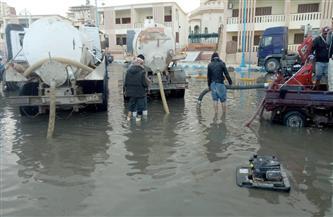 شفط مياه الأمطار من شوارع مطروح | صور