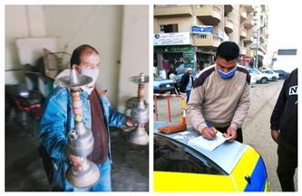 مصادرة الشيشة من المقاهي وتغريم السائقين غير الملتزمين لمحاربة الكورونا بالشرقية| صور