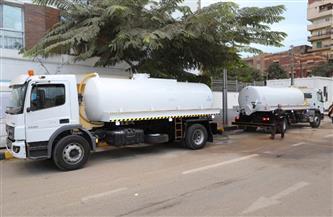 دعم منظومة النظافة بسيارات شفط مياه ورش الأشجار في المنوفية | صور