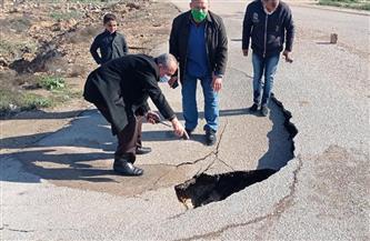 وقوع هبوط أرضي بطريق الغربانيات بالإسكندرية| صور