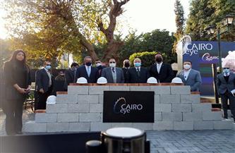 مستشار الرئيس ووزير الآثار ومحافظ القاهرة يضعون حجر أساس العجلة الدوارة