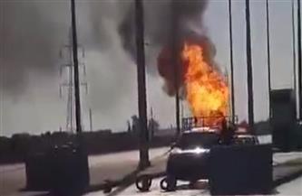 السيطرة على حريق شب في سيارة كانت تحمل أسطوانات غاز بطريق القاهرة الإسماعيلية| صور