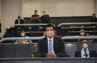 وزير الرياضة يشاهد مباراة مصر وروسيا ببطولة العالم لليد بصالة ستاد القاهرة