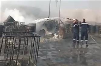 السيطرة على حريق هائل داخل مصنع زيوت بأطفيح| صور