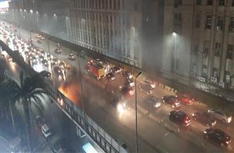 توقف حركة المرور أعلى كوبري 6 أكتوبر بسبب اندلاع حريق| صور