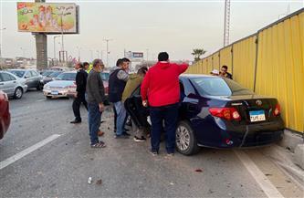 كثافات مرورية بمحور 26 يوليو بسبب تصادم 3 سيارات   فيديو وصور