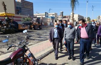 محافظ بورسعيد يتفقد أعمال تطوير ورفع كفاءة شارع النصر وأسوان | صور