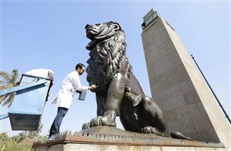 العناني يشهد إطلاق حملة تنظيف وصيانة التماثيل الموجودة بالميادين العامة| صور