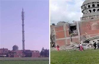 انهيار مئذنة مسجد تحت الإنشاء بسبب الرياح بإحدى قرى الدقهلية