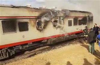 الحماية المدنية تسيطر على حريق بقطار القاهرة - السويس | صور وفيديو