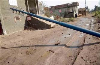 سقوط عمود كهرباء بأشمون بسبب موجة الطقس السيئ