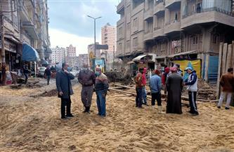 الانتهاء من ردم موقع الهبوط المفاجئ بشارع الترعة بحي ثان المحلة |صور