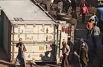 انقلاب سيارة نقل فى مدينة قطور بالغربية دون خسائر بشرية | صور