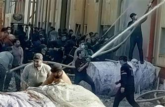 إصابة أمين شرطة أثناء محاولات إطفاء حريق بمخزن مصنع منتجات ورقية بالسادات