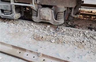 خروج عربة قطار عن القضبان في محطة مصر وسط الإسكندرية