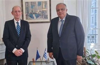 مندوب مصر الدائم لدى الأمم المتحدة يلتقى نظيره اليوناني لبحث تعزيز التعاون الثنائي