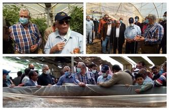 وزير الزراعة ومحافظ جنوب سيناء يتفقدان مزرعة الاستزراع السمكي والصوب الزراعية بنويبع| صور