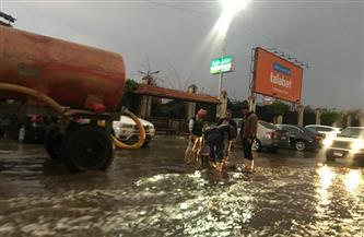 استمرار عمليات شفط مياه الأمطار بالمنصورة
