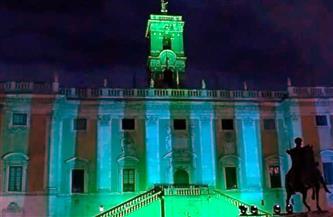 """""""قصر سيناتوريو""""بروما يضيء باللون الأخضر احتفالا بذكرى توقيع """"وثيقة الأخوة الإنسانية"""""""