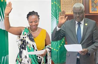 رئيس مفوضية الاتحاد الإفريقي ونائبته يحلفان اليمين أمام المستشار القانوني | صور