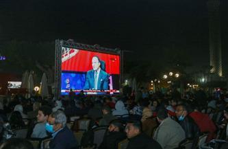 الأعضاء يحتشدون أمام الشاشات لمشاهدة مباراة الأهلي وبايرن ميونخ
